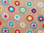 Baumwollstoff Sterne Kreise Sterne Buttons, weinrot beige