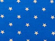 Baumwolle Sterne 1 cm - beige auf blau