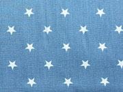 Sterne 1 cm - hellblau auf jeansblau