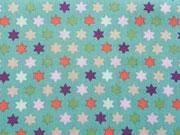 RESTSTÜCK 40 cm Baumwollstoff Sterne, bunt auf mint
