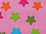 Baumwollstoff bunte Sterne 2,2 cm auf rosa Maddox Swafing