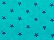 Sterne 1 cm - petrol auf türkis
