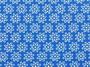 RESTSTÜCK 67 cm Baumwollstoff Streublümchen, königsblau weiß