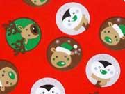 Baumwollstoff Rentiere Pinguine Bären weihnachtlich, rot