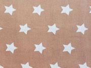 Baumwollstoff Sterne 2 cm, weiss auf beige