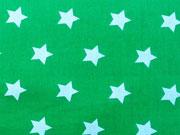 RESTSTÜCK 85 cm Baumwollstoff Sterne 2 cm, weiss auf Gras grün