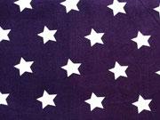 Baumwollstoff Sterne 2 cm, weiss auf lila