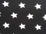 Baumwollstoff Sterne 2 cm, weiss auf schwarz