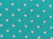 RESTSTÜCK 57 cm Baumwollstoff mini Sterne 0,5cm  Stenzo, weiß aquamarin