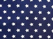 Baumwollstoff Sterne 1 cm, weiss auf dunkelblau