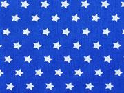 Sterne 1 cm, weiss auf royalblau