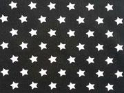 RESTSTÜCK 22 cm Baumwollstoff Sterne 1 cm, weiss auf schwarz