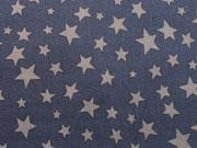 RESTSTÜCK 74 cm Baumwollstoff diverse Sterne, dunkelgrau auf navy