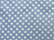Baumwollstoff Voile hellblau mit cremeweißen Pünktchen (3 mm)