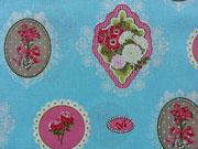 Baumwollstoff Ornamente Blumen, hellblau