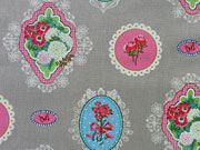BW Belle-Fleur Medaillons & Blumen-hellgrau