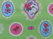Baumwollstoff Ornamente Blumen, hellgrün