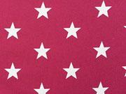 Baumwollstoff Sterne Big Star 3cm - weinrot weiss