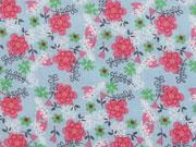 Baumwollstoff Blumen & Zweige, pink hellblau