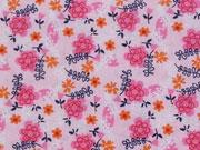 Baumwollstoff Blumen Zweige, pink rosa