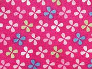 Baumwolle bunte Blümchen (Windrädchen) auf pink