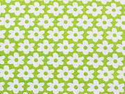 Baumwolle Blümchen, weiß auf hellgrün