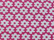 Baumwolle Blümchen, weiß auf pink