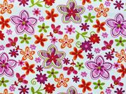RESTSTÜCK 80 cm Baumwollstoff Blüten, cremeweiss hellgrün