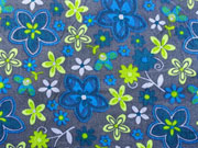 RESTSTÜCK 67 cm Baumwollstoff Blüten, dunkelgrau hellgrün