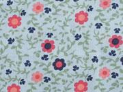 Baumwolle Blumen & Blattwerk, pink auf hellblau