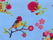 Baumwolle Bellisimi Fiori Blumen & Vögel, hellblau