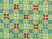 Baumwolle Kreuzblumen, pink, hellblau und weiß auf hellgrün