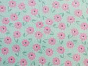 Baumwolle Blumen mit Stengel, mint