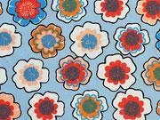 Baumwollstoff Blumen - stahlblau orange