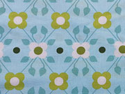 Baumwolle Blumen & Punkte - hellblau