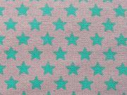 RESTSTÜCK 32 cm Canvas Stoff Sterne, mint auf grau