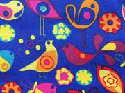 Canvas Birds, bunte Vögel auf royalblau