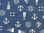 RESTSTÜCK 86 cm Canvas maritime Muster - dunkelblau