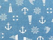 RESTSTÜCK 46 cm Canvas maritime Muster - jeansblau