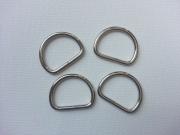 4 D-Ring Metall silberfarben, 20 mm
