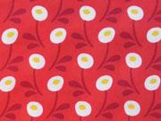Baumwollstoff runde Blumen Hamburger Liebe, weiß rot