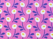 Jersey runde Blumen Hamburger Liebe, weiß rosa