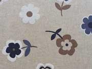Dekostoff Blumen - blau/weiß/braun auf natur
