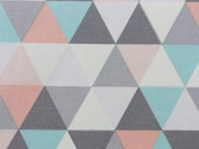 Dekostoff Dreiecke Skandinavischer Look, aprikot grau helltürkis