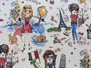 RESTSTÜCK 49 cm Dekostoff Fashionista All Around the world- weiss