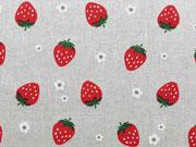 Leinenlook Erdbeeren & Margeriten, natur/rot