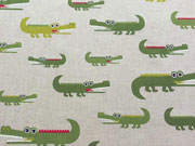 Leinenlook Krokodile, grün auf natur