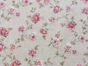 RESTSTÜCK 70 cm Leinenlook Dekostoff kleine Rosen, natur
