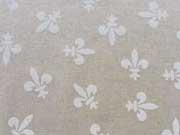 Dekostoff Lilien - weiß auf natur