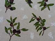 Dekostoff Oliven - grün/schwarz auf natur